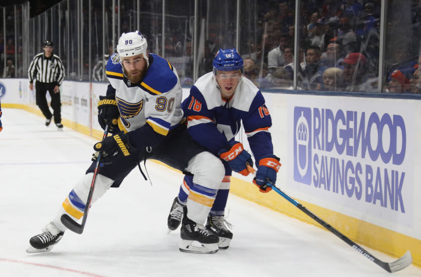 UNIONDALE, NEW YORK - OCTOBER 14: Ryan O'Reilly #90 of the St. Louis Blues (Photo by Bruce Bennett/Getty Images)