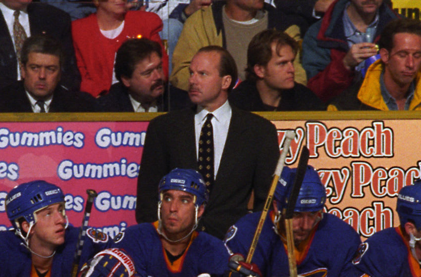 TORONTO, ON - DECEMBER 3: Head coach Mike Keenan of the St. Louis Blues watches the play against the Toronto Maple Leafs during NHL game action on December 3, 1996 at Maple Leaf Gardens in Toronto, Ontario, Canada. (Photo by Graig Abel/Getty Images)