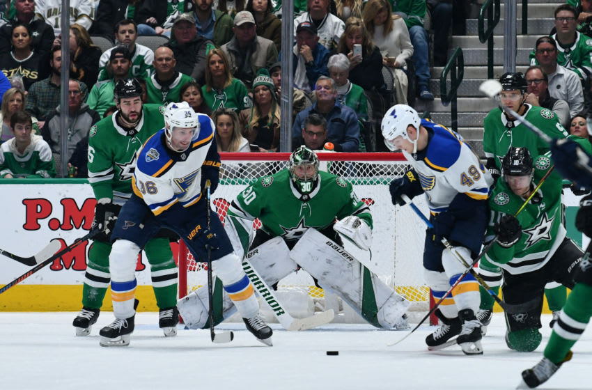 DALLAS, TX - NOVEMBER 29: Ben Bishop #30 of the Dallas Stars tends goal against the St. Louis Blues at the American Airlines Center on November 29, 2019 in Dallas, Texas. (Photo by Glenn James/NHLI via Getty Images)