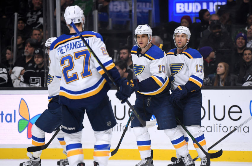 LOS ANGELES, CALIFORNIA - DECEMBER 23: Brayden Schenn #10 of the St. Louis Blues celebrates his goal with Jaden Schwartz #17 and Alex Pietrangelo #27, to take a 4-0 lead over the Los Angeles Kings, during the first period at Staples Center on December 23, 2019 in Los Angeles, California. (Photo by Harry How/Getty Images)
