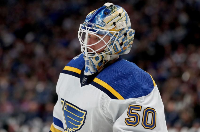 DENVER, COLORADO - JANUARY 02: Jordan Binnington #50 of the St Louis Blues tends goal against the Colorado Avalanche in the second period at the Pepsi Center on January 02, 2020 in Denver, Colorado. (Photo by Matthew Stockman/Getty Images)