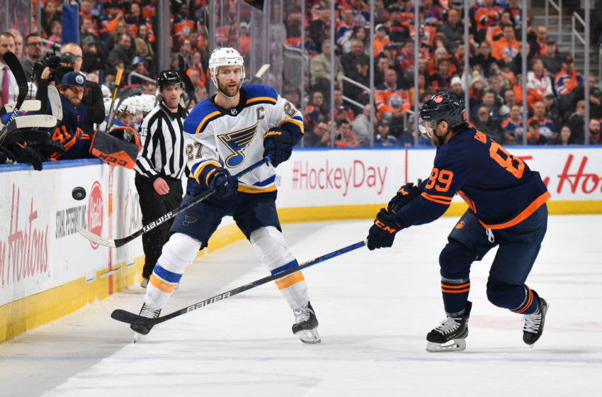 EDMONTON, AB - JANUARY 31: Alex Pietrangelo #27 of the St. Louis Blues dumps the puck in during the game against the Edmonton Oilers on January 31, 2020, at Rogers Place in Edmonton, Alberta, Canada. (Photo by Andy Devlin/NHLI via Getty Images)