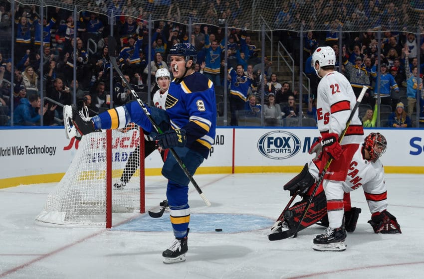 ST. LOUIS, MO - FEBRUARY 4: Sammy Blais #9 of the St. Louis Blues reacts after scoring a goal against the Carolina Hurricanes at Enterprise Center on February 4, 2020 in St. Louis, Missouri. (Photo by Joe Puetz/NHLI via Getty Images)