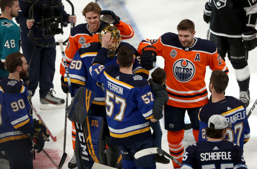 ST LOUIS, MISSOURI - JANUARY 24: Jordan Binnington #50 of the St. Louis Blues is congratulated by his Western Conference teammates after competing in the Bud Light NHL Save Streak event as part of of the 2020 NHL All-Star Skills competition at Enterprise Center on January 24, 2020 in St Louis, Missouri. (Photo by Chase Agnello-Dean/NHLI via Getty Images)