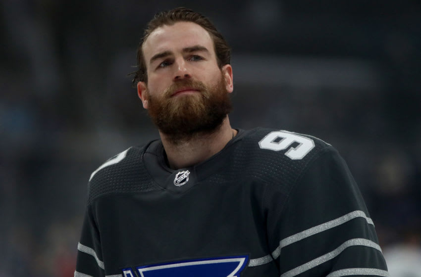 ST LOUIS, MISSOURI - JANUARY 25: Ryan O'Reilly #90 of the St. Louis Blues warms up prior to the 2020 Honda NHL All-Star Game at Enterprise Center on January 25, 2020 in St Louis, Missouri. (Photo by Jamie Squire/Getty Images)