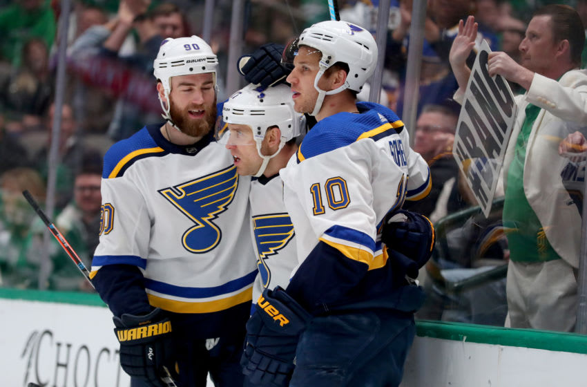 DALLAS, TEXAS - FEBRUARY 21: Jaden Schwartz #17 of the St. Louis Blues celebrates with Ryan O'Reilly #90 of the St. Louis Blues and Brayden Schenn #10 of the St. Louis Blues after scoring against the Dallas Stars in the second period at American Airlines Center on February 21, 2020 in Dallas, Texas. (Photo by Tom Pennington/Getty Images)