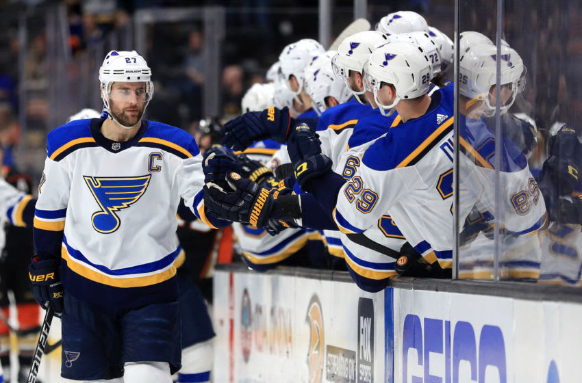 ANAHEIM, CALIFORNIA - MARCH 11: Alex Pietrangelo #27 of the St. Louis Blues is congratulated at the bench after scoring a goal during the first period of a game against the Anaheim Ducks at Honda Center on March 11, 2020 in Anaheim, California. (Photo by Sean M. Haffey/Getty Images)