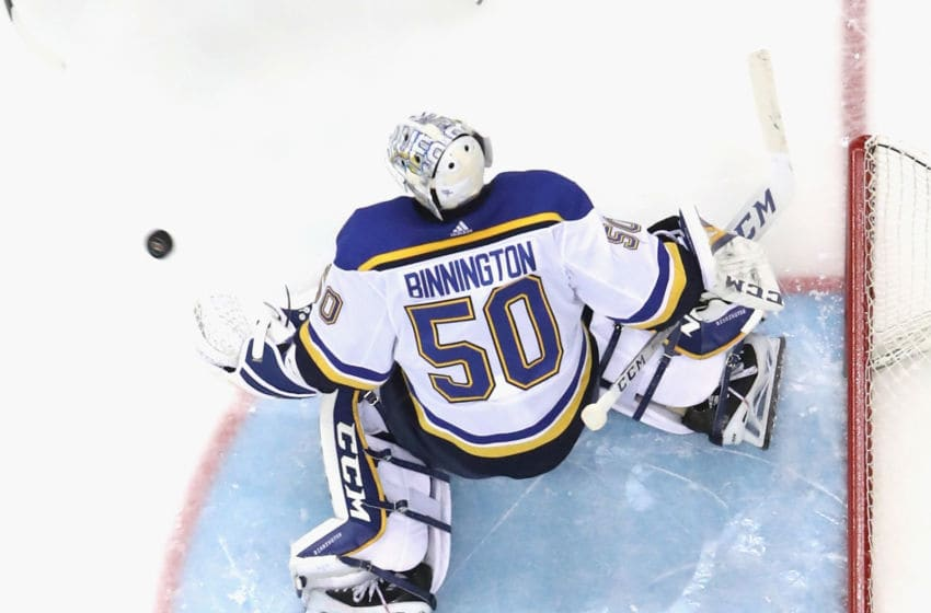 NEWARK, NEW JERSEY - MARCH 06: Jordan Binnington #50 of the St. Louis Blues skates against the New Jersey Devils at the Prudential Center on March 06, 2020 in Newark, New Jersey. The Devils defeated the Blues 4-2. (Photo by Bruce Bennett/Getty Images)