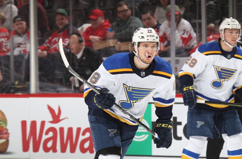 NEWARK, NEW JERSEY - MARCH 06: Robert Thomas #18 of the St. Louis Blues skates against the New Jersey Devils at the Prudential Center on March 06, 2020 in Newark, New Jersey. The Devils defeated the Blues 4-2. (Photo by Bruce Bennett/Getty Images)