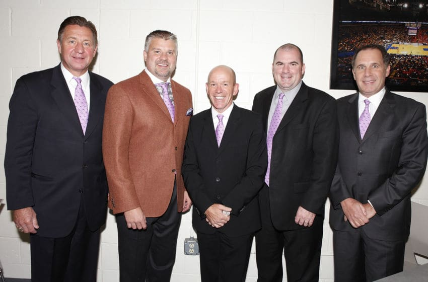 ST. LOUIS, MO - OCTOBER 21: St. Louis Blues broadcasters (L to R) Bernie Federko, Kelly Chase, Darren Pang, Chris Kerber and Dan Kelly wear pink ties in support of Hockey Fights Cancer before an NHL game between the St. Louis Blues and the Carolina Hurricanes on October 21, 2011 at Scottrade Center in St. Louis, Missouri. (Photo by Mark Buckner/NHLI via Getty Images)