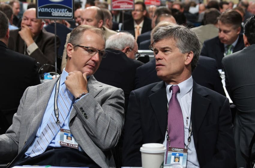 PITTSBURGH, PA - JUNE 23: (L-R) Al MacInnis and Team Owner Tom Stillman of the St. Louis Blues attend day two of the 2012 NHL Entry Draft at Consol Energy Center on June 23, 2012 in Pittsburgh, Pennsylvania. (Photo by Bruce Bennett/Getty Images)