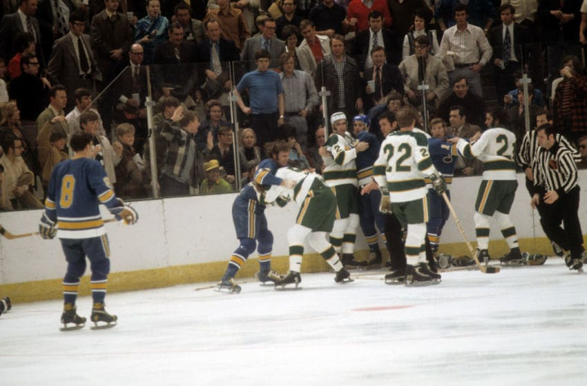 BLOOMINGTON, MN - APRIL, 1972: St. Louis Blues (Photo by Melchior DiGiacomo/Getty Images)