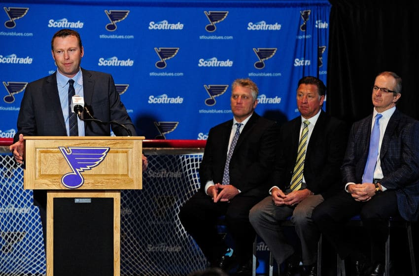 ST. LOUIS, MO - JANUARY 29: Martin Brodeur of the St. Louis Blues talks with the media as Brett Hull, Bernie Federko and Al MacInnis look on at a press conference to announce his retirement at Scottrade Center on January 29, 2015 in St. Louis, Missouri. (Photo by Jeff Curry/Getty Images)