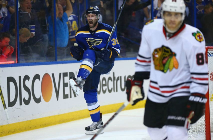 ST. LOUIS, MO - APRIL 25: Troy Brouwer #36 of the St. Louis Blues celebrates after scoring the game-winning goal against the Chicago Blackhawks in Game Seven of the Western Conference First Round during the 2016 NHL Stanley Cup Playoffs at the Scottrade Center on April 25, 2016 in St. Louis, Missouri. The blues beat the Blackhawks 3-2 to win the series. (Photo by Dilip Vishwanat/ Getty Images)