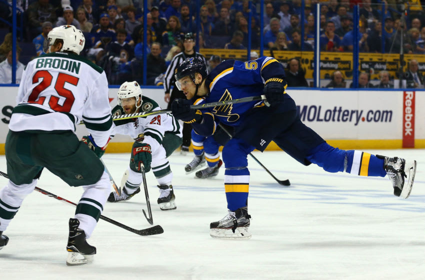 ST. LOUIS, MO - APRIL 19: Colton Parayko #55 of the St. Louis Blues shoots the puck against the Minnesota Wild in Game Four of the Western Conference First Round during the 2017 NHL Stanley Cup Playoffs at the Scottrade Center on April 19, 2017 in St. Louis, Missouri. (Photo by Dilip Vishwanat/Getty Images)