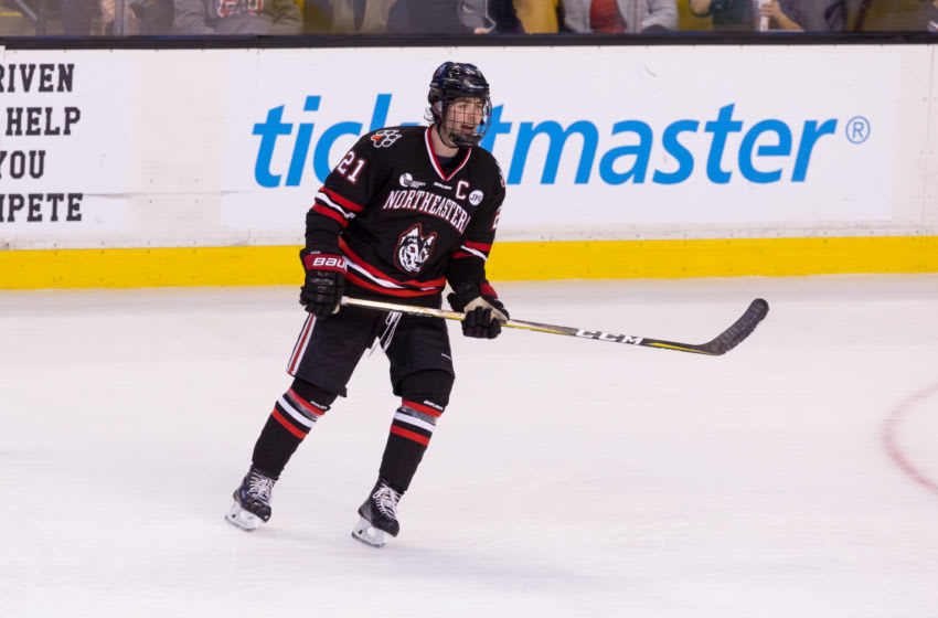 BOSTON, MA - FEBRUARY 5: Nolan Stevens #21 of the Northeastern Huskies skates against the Boston College Eagles during NCAA hockey in the semifinals of the annual Beanpot Hockey Tournament at TD Garden on February 5, 2018 in Boston, Massachusetts. The Huskies won 3-0 and advance to the Beanpot championship game February 12. (Photo by Richard T Gagnon/Getty Images)