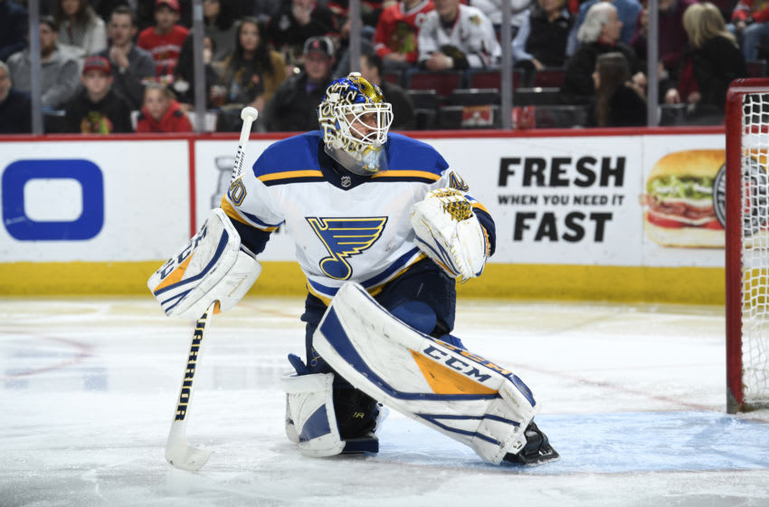 CHICAGO, IL - APRIL 06: Goalie Carter Hutton #40 of the St. Louis Blues guards the net in the third period against the Chicago Blackhawks at the United Center on April 6, 2018 in Chicago, Illinois. The St. Louis Blues defeated the Chicago Blackhawks 4-1. (Photo by Bill Smith/NHLI via Getty Images)