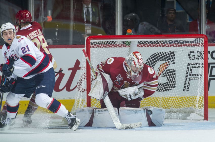 REGINA, SK - MAY 27: Evan Fitzpatrick #31 of Acadie-Bathurst Titan makes a first period save against the Regina Pats at Brandt Centre - Evraz Place on May 27, 2018 in Regina, Canada. (Photo by Marissa Baecker/Getty Images)