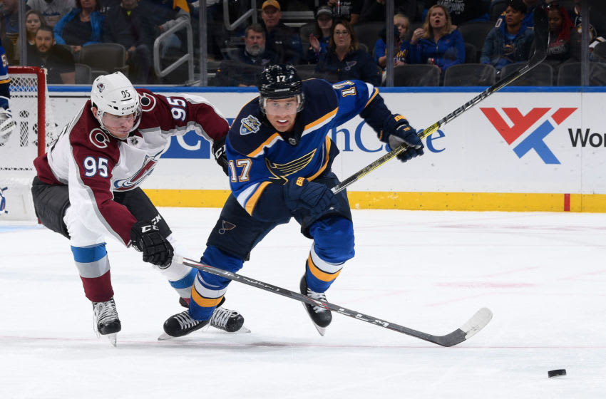 ST. LOUIS, MO - OCTOBER 17: Jaden Schwartz #17 of the St. Louis Blues and Andre Burakovsky #95 of the Colorado Avalanche battle for the puck at Enterprise Center on October 17, 2019 in St. Louis, Missouri. (Photo by Scott Rovak/NHLI via Getty Images)