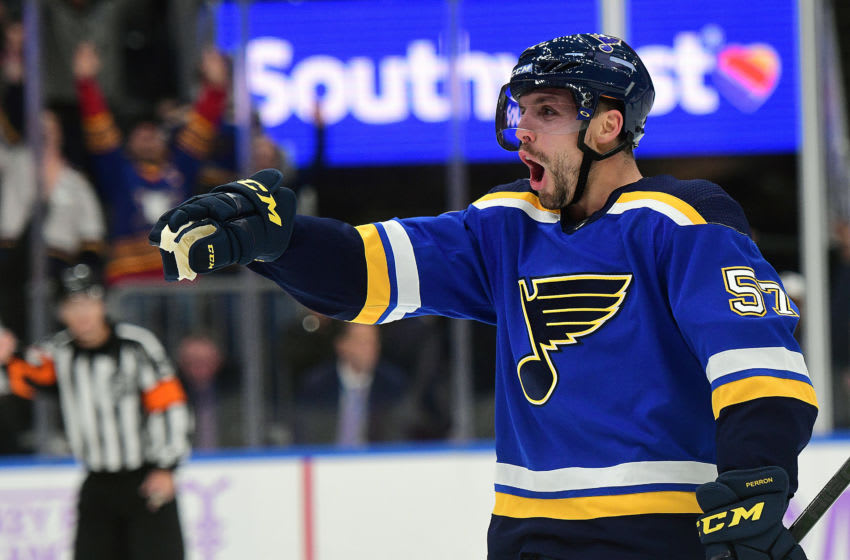 ST. LOUIS, MO. - NOVEMBER 01: St. Louis Blues leftwing David Perron (57) reacts after scoring the winning goal in overtime during a NHL game between the Columbus Blue Jackets and the St. Louis Blues on November 01, 2019, at Enterprise Center, St. Louis, MO. (Photo by Keith Gillett/Icon Sportswire via Getty Images)