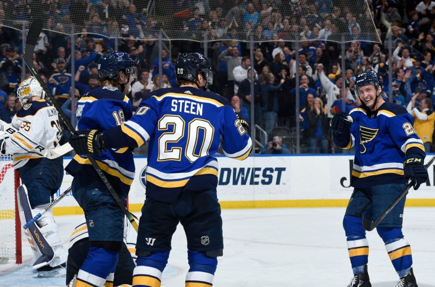 ST. LOUIS, MO - JANUARY 9: Alexander Steen #20 of the St. Louis Blues is congratulated by teammates after scoring a goal against the Buffalo Sabres at Enterprise Center on January 9, 2020 in St. Louis, Missouri. (Photo by Joe Puetz/NHLI via Getty Images)