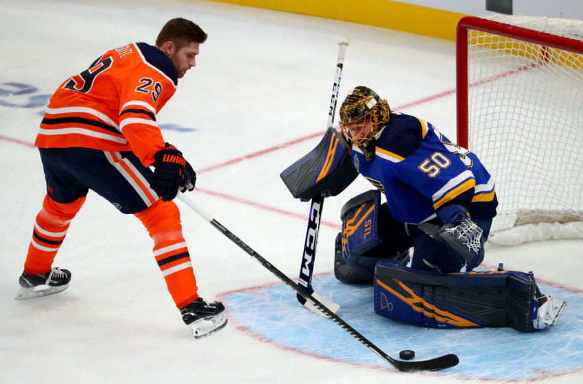 ST LOUIS, MISSOURI - JANUARY 24: Leon Draisaitl #29 of the Edmonton Oilers competes against Jordan Binnington #50 of the St. Louis Blues in the Bud Light NHL Save Streak during the 2020 NHL All-Star Skills Competition at Enterprise Center on January 24, 2020 in St Louis, Missouri. (Photo by Dilip Vishwanat/Getty Images)