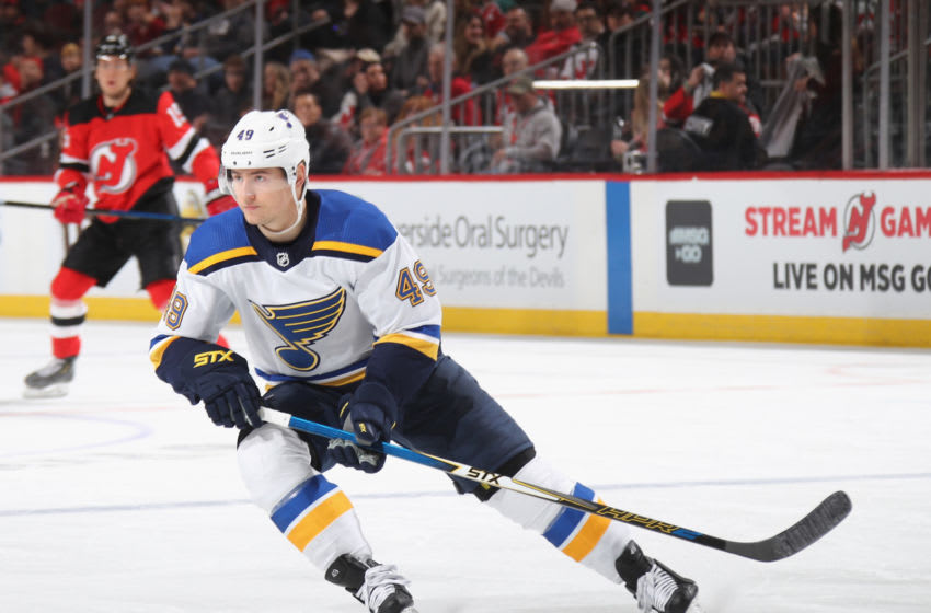 NEWARK, NEW JERSEY - MARCH 06: Ivan Barbashev #49 of the St. Louis Blues skates against the New Jersey Devils at the Prudential Center on March 06, 2020 in Newark, New Jersey. The Devils defeated the Blues 4-2. (Photo by Bruce Bennett/Getty Images)