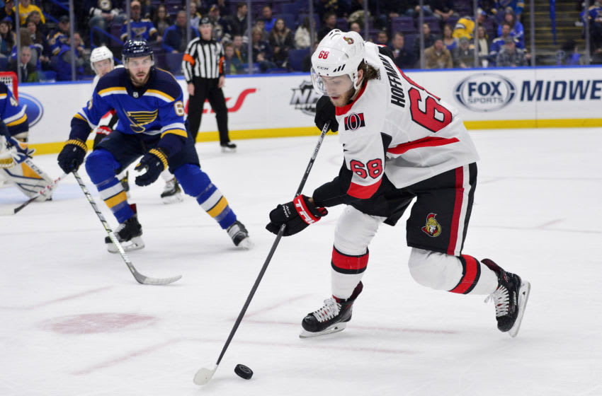 Mike Hoffman (68) against the St. Louis Blues Mandatory Credit: Jeff Curry-USA TODAY Sports