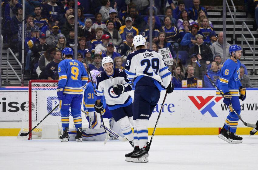 Patrik Laine (29) vs St. Louis Blues Mandatory Credit: Jeff Curry-USA TODAY Sports