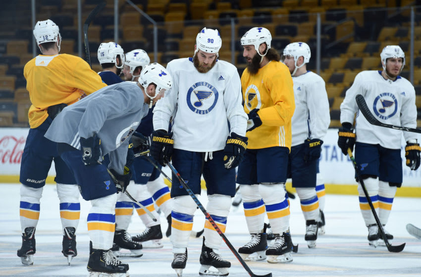 May 26, 2019; Boston, MA, USA; St. Louis Blues players practice during media day for the 2019 Stanley Cup Final at TD Garden. Mandatory Credit: Bob DeChiara-USA TODAY Sports