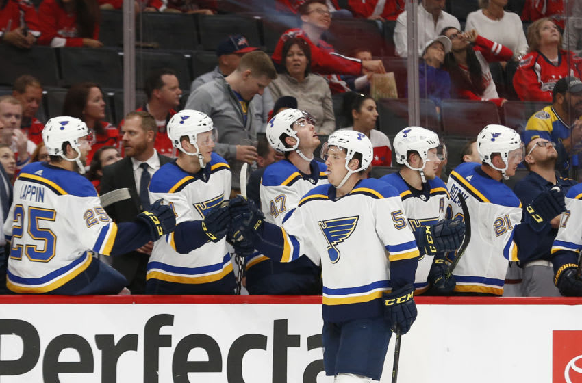 Sep 18, 2019; Washington, DC, USA; St. Louis Blues right wing Austin Poganski (53) celebrates with teammates after scoring a goal against the Washington Capitals in the first period at Capital One Arena. Mandatory Credit: Geoff Burke-USA TODAY Sports