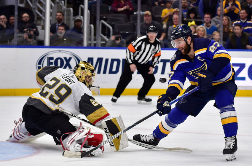 Dec 12, 2019; St. Louis, MO, USA; Vegas Golden Knights goaltender Marc-Andre Fleury (29) defends the net against St. Louis Blues defenseman Alex Pietrangelo (27) during the second period at Enterprise Center. Mandatory Credit: Jeff Curry-USA TODAY Sports