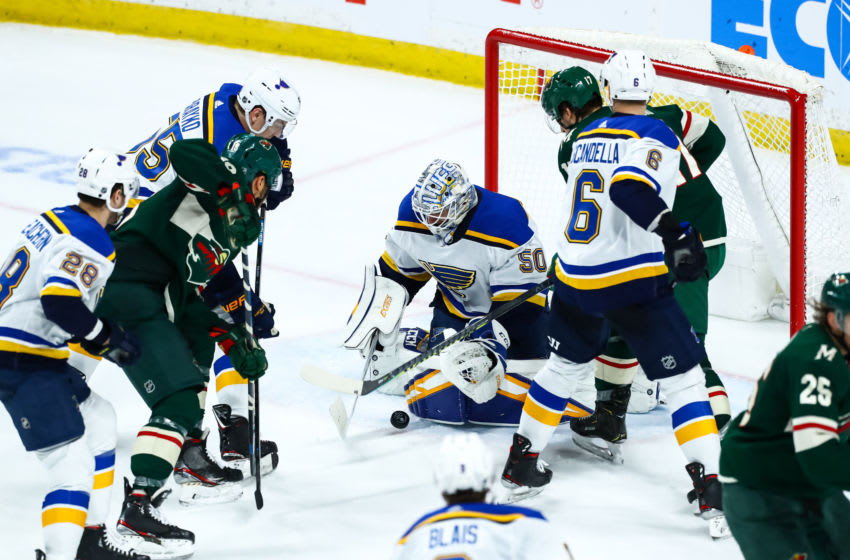St. Louis Blues goaltender Jordan Binnington (50) Mandatory Credit: David Berding-USA TODAY Sports