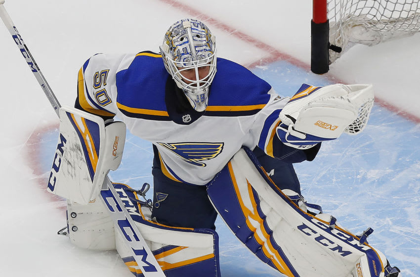 St. Louis Blues goaltender Jordan Binnington (50) makes a save Mandatory Credit: Perry Nelson-USA TODAY Sports