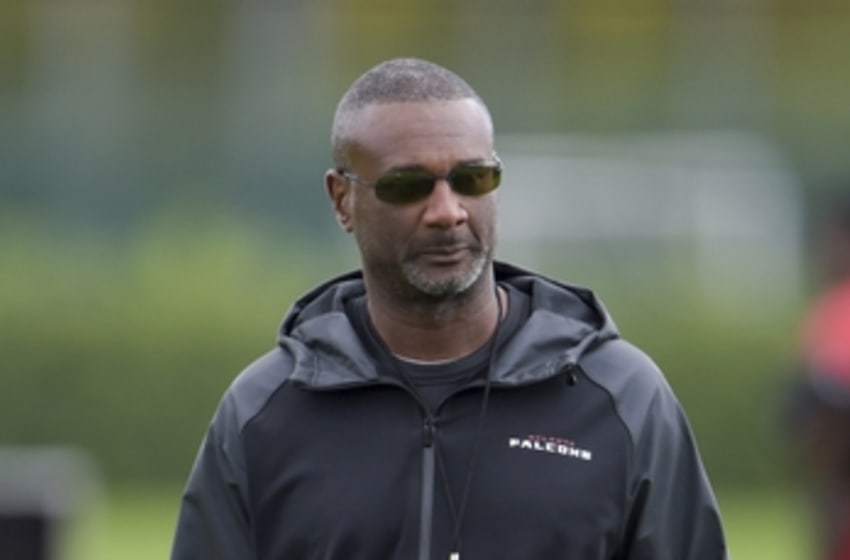 Oct 23, 2014; Hertfordshire, UNITED KINGDOM; Atlanta Falcons special teams coordinator Keith Armstrong at practice at the Arsenal Training Centre in advance of the International Series game against the Detroit Lions. Mandatory Credit: Kirby Lee-USA TODAY Sports