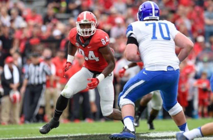 Nov 7, 2015; Athens, GA, USA; Georgia Bulldogs linebacker Leonard Floyd (84) works against Kentucky Wildcats offensive tackle Jordan Swindle (70) during the first half at Sanford Stadium. Georgia defeated Kentucky 27-3. Mandatory Credit: Dale Zanine-USA TODAY Sports