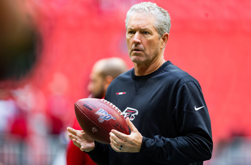ATLANTA, GA - OCTOBER 20: Offensive coordinator Dirk Koetter of the Atlanta Falcons looks on prior to the game against the Los Angeles Rams at Mercedes-Benz Stadium on October 20, 2019 in Atlanta, Georgia. (Photo by Carmen Mandato/Getty Images)