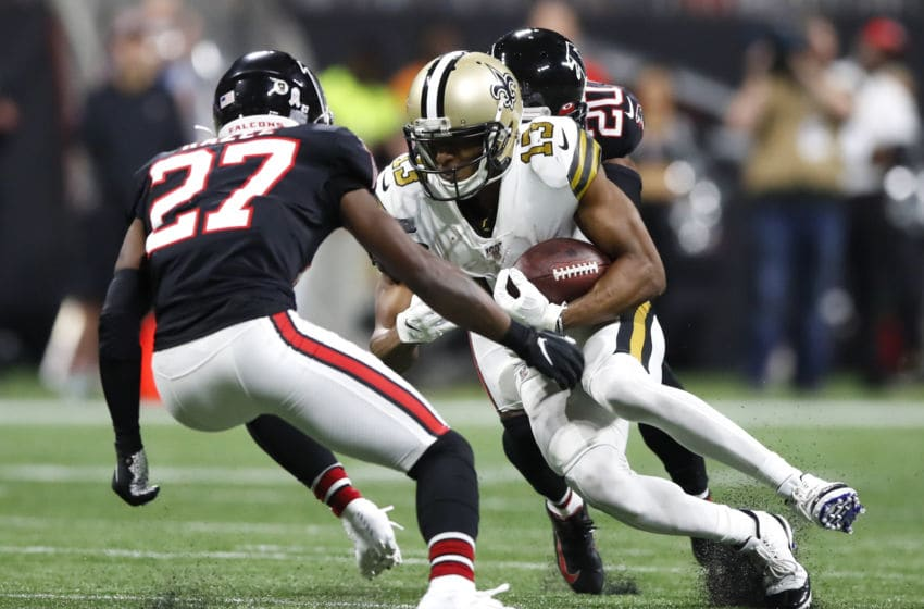 Damontae Kazee Kendall Sheffield Atlanta Falcons (Photo by Todd Kirkland/Getty Images)