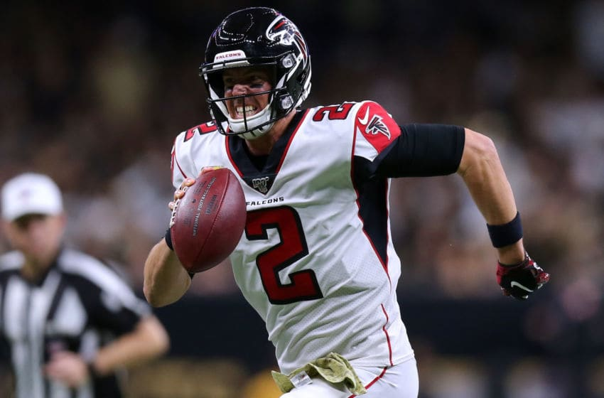 NEW ORLEANS, LOUISIANA - NOVEMBER 10: Matt Ryan #2 of the Atlanta Falcons in action during a game against the New Orleans Saints at the Mercedes Benz Superdome on November 10, 2019 in New Orleans, Louisiana. (Photo by Jonathan Bachman/Getty Images)
