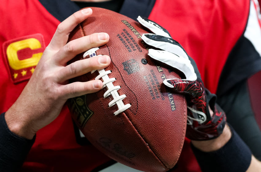 ATLANTA, GA - DECEMBER 08: A detail shot of Matt Ryan #2 of the Atlanta Falcons hands are seen prior to a game against the Carolina Panthers at Mercedes-Benz Stadium on December 8, 2019 in Atlanta, Georgia. (Photo by Carmen Mandato/Getty Images)