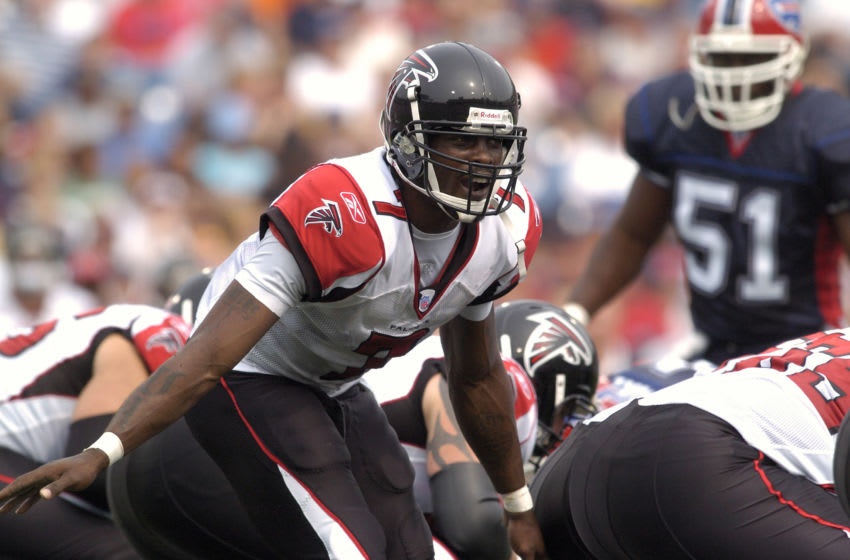 Atlanta Falcons quarterback Michael Vick calls out an audible during a game against the Buffalo Bills at Ralph Wilson Stadium in Orchard Park, New York on September 25, 2005. Atlanta won the game 24-16 (Photo by Mark Konezny/NFLPhotoLibrary)