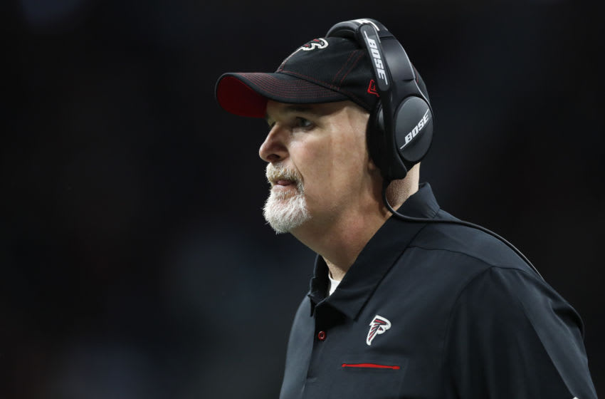 ATLANTA, GA - DECEMBER 22: Head coach Dan Quinn of the Atlanta Falcons watches in the second half of an NFL game against the Jacksonville Jaguars at Mercedes-Benz Stadium on December 22, 2019 in Atlanta, Georgia. (Photo by Todd Kirkland/Getty Images)