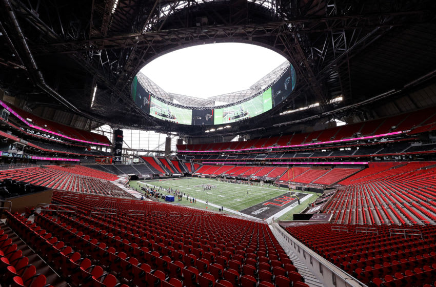 ATLANTA, GEORGIA - SEPTEMBER 13: A view of Mercedes-Benz Stadium during the game between the Atlanta Falcons and the Seattle Seahawks on September 13, 2020 in Atlanta, Georgia. (Photo by Kevin C. Cox/Getty Images)