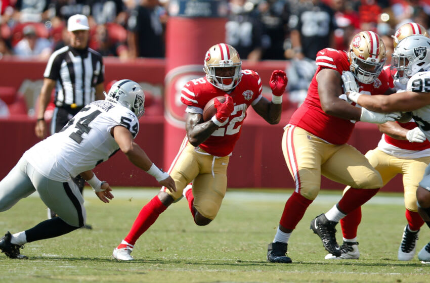 SANTA CLARA, CA - AUGUST 29: Wayne Gallman II #22 of the San Francisco 49ers rushes during the game against the Las Vegas Raiders at Levi's Stadium on August 29, 2021 in Santa Clara, California. The 49ers defeated the Raiders 34-10. (Photo by Michael Zagaris/San Francisco 49ers/Getty Images)