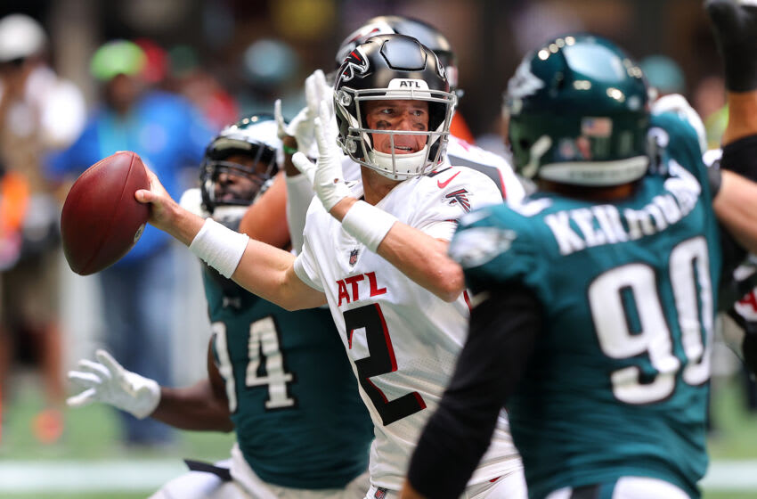 ATLANTA, GEORGIA - SEPTEMBER 12: Matt Ryan #2 of the Atlanta Falcons looks to pass during the second half against the Philadelphia Eagles at Mercedes-Benz Stadium on September 12, 2021 in Atlanta, Georgia. (Photo by Kevin C. Cox/Getty Images)
