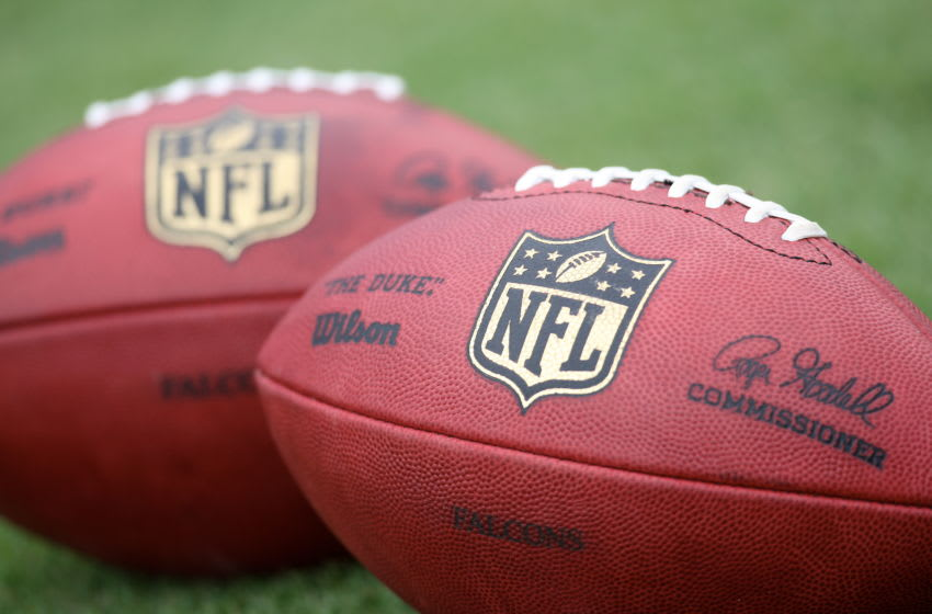 FLOWERY BRANCH, GA - JULY 26: An official football is shown with the new NFL logo during training camp at the Atlanta Flacons Training Facility on July 26, 2008 in Flowery Branch, Georgia. (Photo by Scott Cunningham/Getty Images)