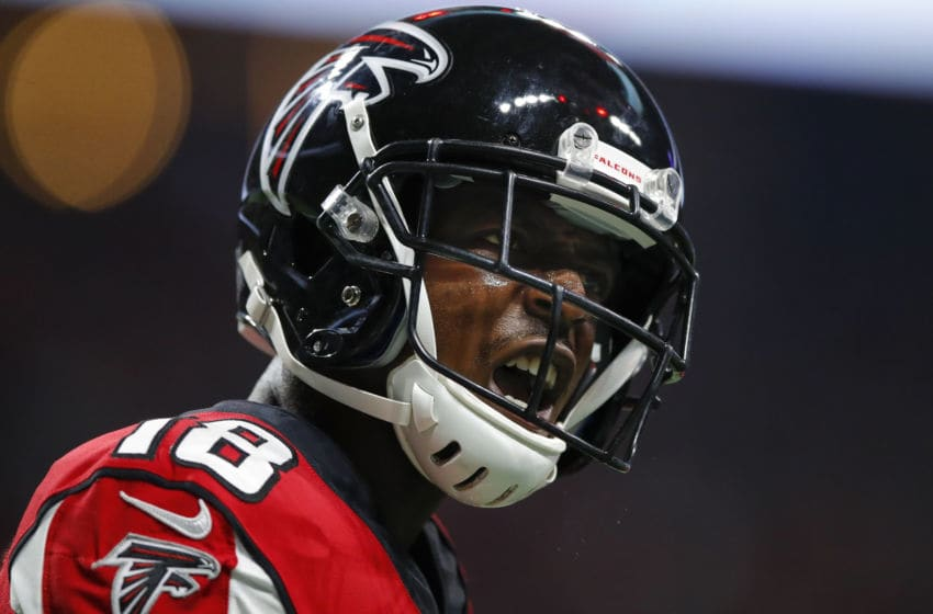 ATLANTA, GA - SEPTEMBER 15: Calvin Ridley #18 of the Atlanta Falcons reacts after a touchdown in the first half of an NFL game against the Philadelphia Eagles at Mercedes-Benz Stadium on September 15, 2019 in Atlanta, Georgia. (Photo by Todd Kirkland/Getty Images)