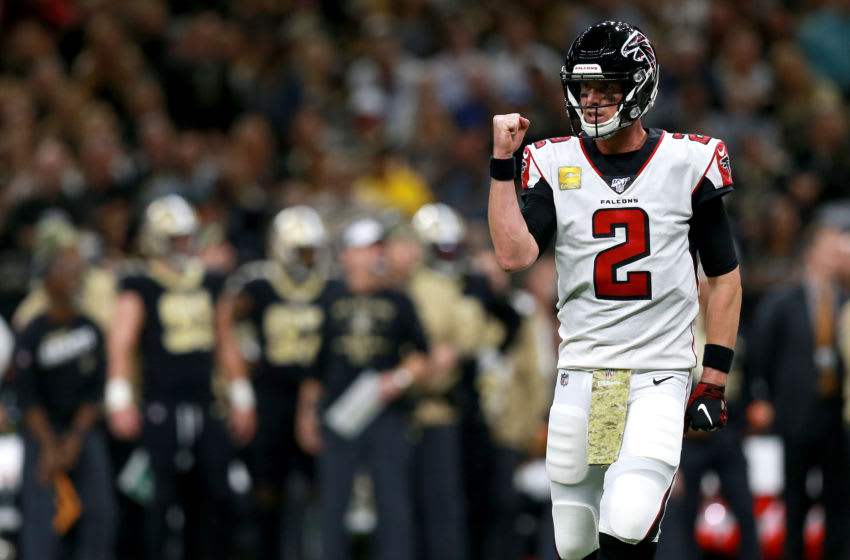 NEW ORLEANS, LOUISIANA - NOVEMBER 10: Matt Ryan #2 of the Atlanta Falcons reacts after throwing a touchdown pass during a NFL game against the New Orleans Saints at the Mercedes Benz Superdome on November 10, 2019 in New Orleans, Louisiana. (Photo by Sean Gardner/Getty Images)