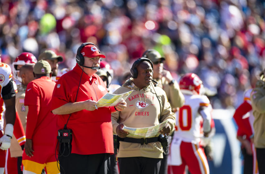 NASHVILLE, TN - NOVEMBER 10: (L-R) Head coach Andy Reid of the Kansas City Chiefs and offensive coordinator Eric Bieniemy watches game action during the first quarter against the Tennessee Titans at Nissan Stadium on November 10, 2019 in Nashville, Tennessee. Tennessee defeats Kansas City 35-32. (Photo by Brett Carlsen/Getty Images)