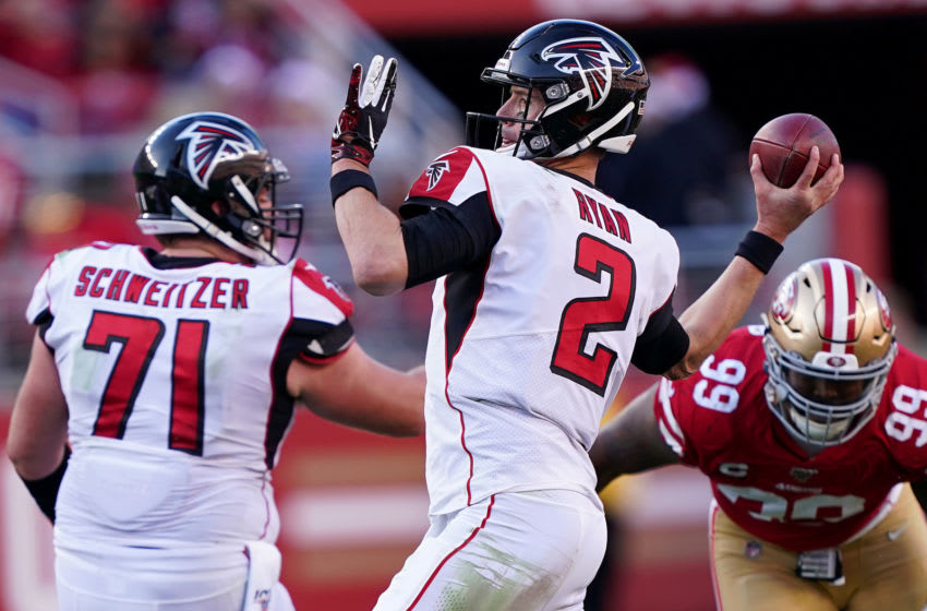 SANTA CLARA, CALIFORNIA - DECEMBER 15: Quarterback Matt Ryan #2 of the Atlanta Falcons delivers a pass against the defense of the San Francisco 49ers at Levi's Stadium on December 15, 2019 in Santa Clara, California. (Photo by Thearon W. Henderson/Getty Images)